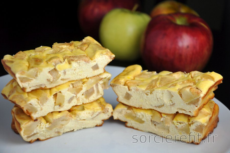 Barres cheesecake protéinées à la pomme (sans gluten ni sucre)