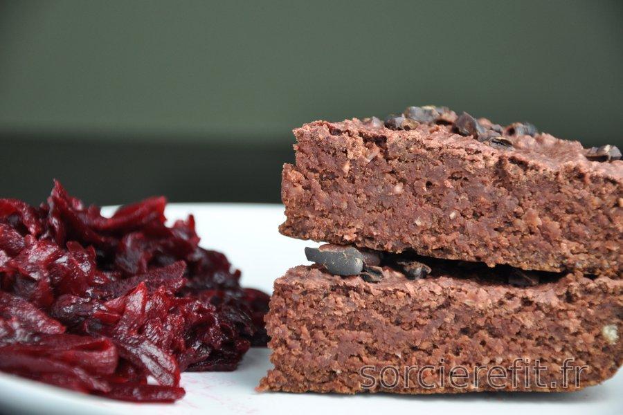 Brownies aux flocons d'avoine et betterave sans gluten