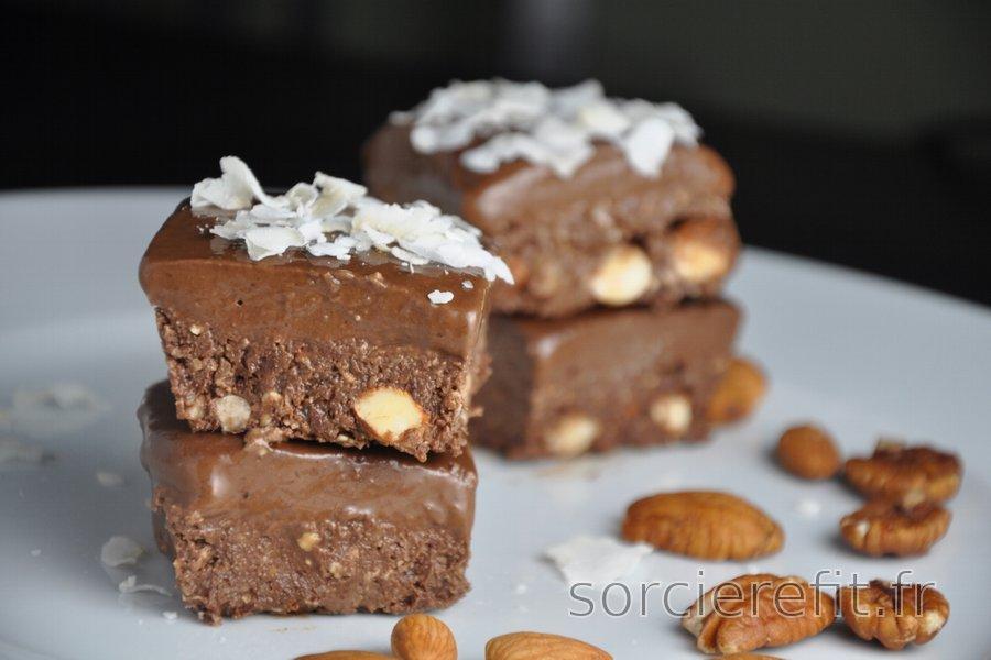 Carrés au cacao sans cuisson ni gluten