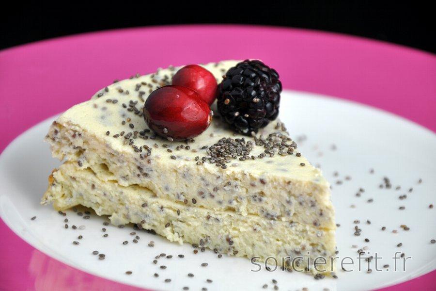 Cheesecake au fromage blanc avec graines de pavot ou chia ...