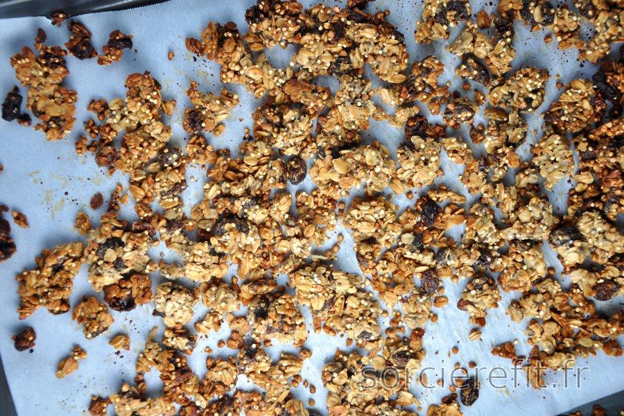 Granola (muesli) sain et maison à base de flocons d'avoine, sarrasin et quinoa