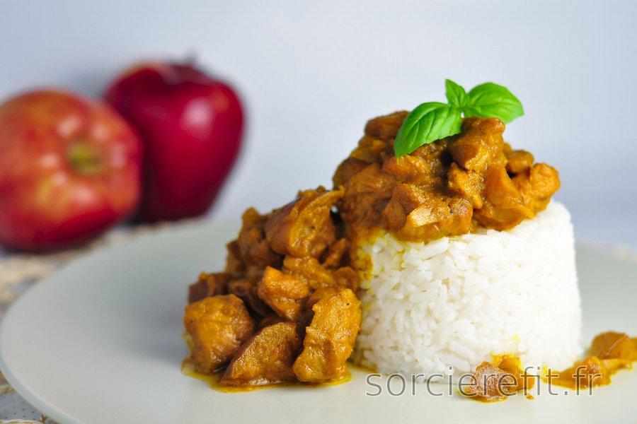 Poulet équilibré au curry et pommes