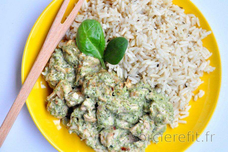 Sauté de poulet et brocolis au fromage bleu