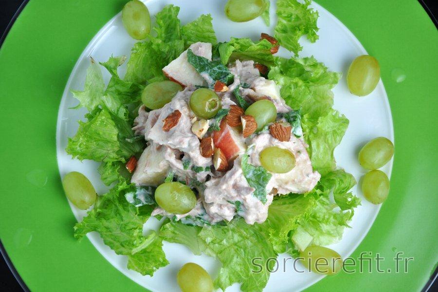Salade de thon saine aux légumes et aux fruits